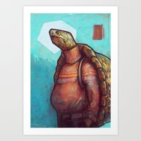 turtles Art Prints featuring Turtles by Ronan Lynam