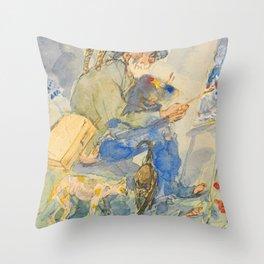 """Théophile Steinlen  """"Autoportrait aux chats"""" Throw Pillow"""