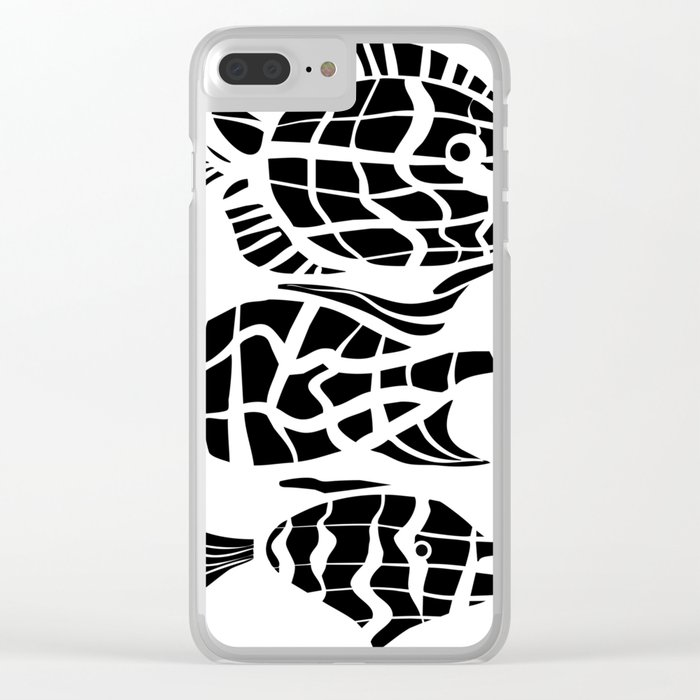 Black and white illustration . Fish . Clear iPhone Case