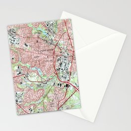 Fayetteville North Carolina Map (1997) Stationery Cards