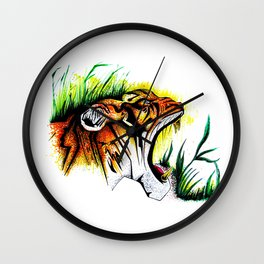 Tiger In The Wild Wall Clock
