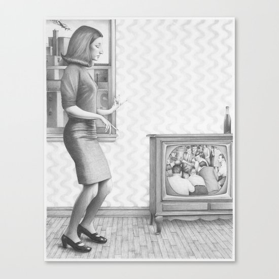 Girl with TV Canvas Print