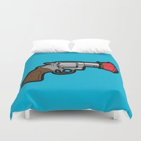 banksy Duvet Covers featuring Pop Icon - Banksy by Greg-guillemin