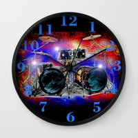 drums Wall Clocks featuring Psychedelic Drums by JT Digital Art