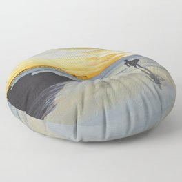 Dog Beach Surfer Floor Pillow