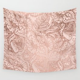 Modern rose gold floral illustration on blush pink Wall Tapestry