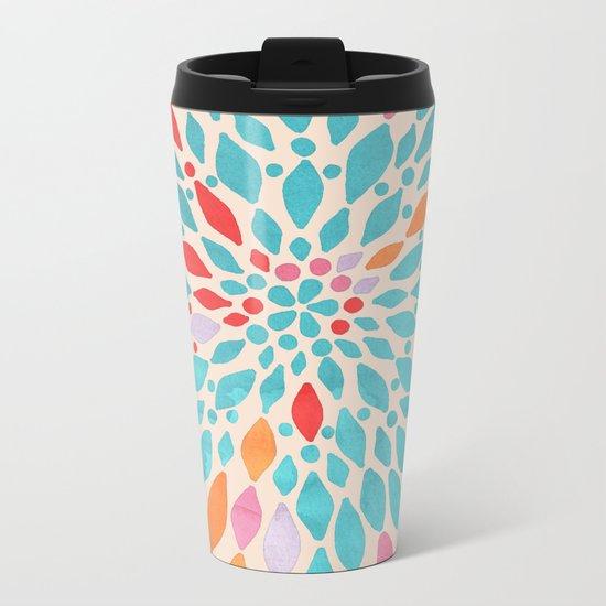 Radiant Dahlia - teal, orange, coral, pink watercolor pattern Metal Travel Mug