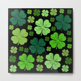 Saint Patrick's Day, Four Leafed Clovers - Green Metal Print