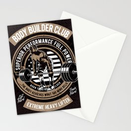 Body Builder - Retro Heavy Lifter - Club, American Body Building Stationery Cards