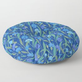 Cornflower field on bright blue Floor Pillow