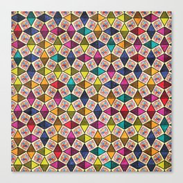 Colorful Kaleidoscopic Abstract Flower Pattern Canvas Print