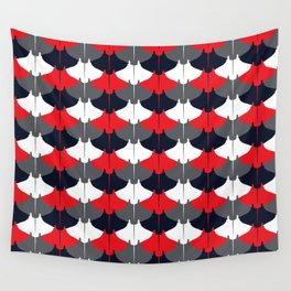 Manta Ray Pattern (Blue and Red) Wall Tapestry