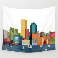 boston Wall Tapestries featuring Boston  by Felita Go