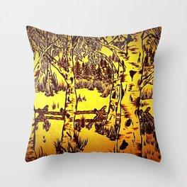 Golden Mountain Sunset - Throw Pillow
