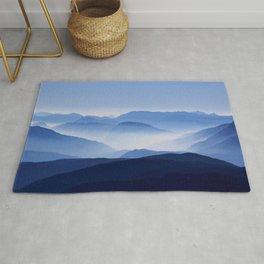 Blue Corno Nero mountain silhouettes in Italy Rug