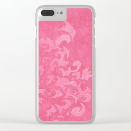 Dusty Rose Damask Clear iPhone Case