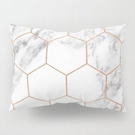 Rose gold marble hexagons honeycomb pattern Pillow Sham
