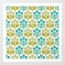 Mid Century Garden Flower Pattern Turquoise Chartreuse Art Print