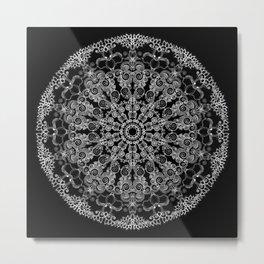 Mandala Project 213 | White Lace on Black Metal Print
