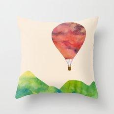 Sunset balloon Throw Pillow