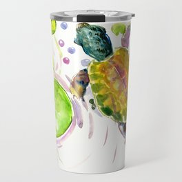 Swimming little cute turtle children nursery art Travel Mug