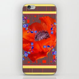 Red Poppy Blue Morning Glories Abstract Pattern iPhone Skin