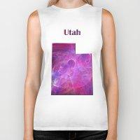 utah Biker Tanks featuring Utah Map by Roger Wedegis