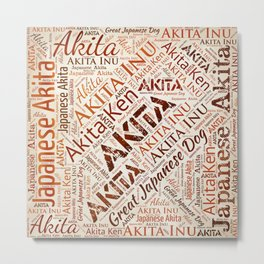 Akita dog Word Art Metal Print