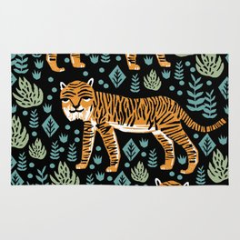 Tiger forest tropical tigers screen print art by andrea lauren Rug