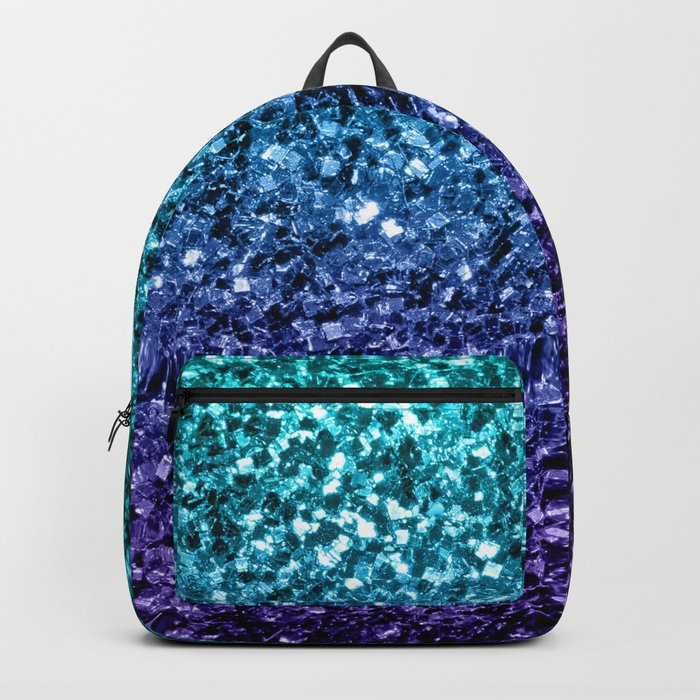 Beautiful Aqua blue Ombre glitter sparkles Backpack
