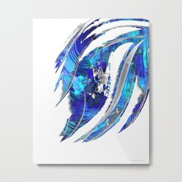 Blue and White Abstract Art - Flowing 2 - Sharon Cummings Metal Print