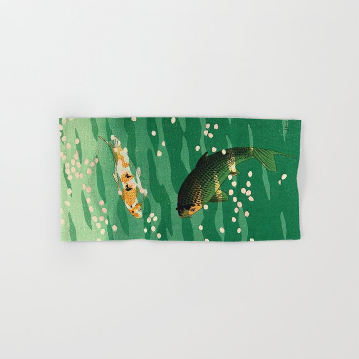 23eed9cab Vintage Japanese Woodblock Print Asian Art Koi Pond Fish Turquoise Green  Water Cherry Blossom Hand & Bath Towel by enshape | Society6