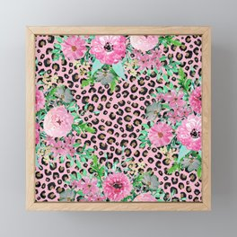 Elegant Leopard Print & Floral Paint Pink design  Framed Mini Art Print
