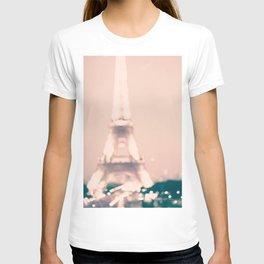 Paris, Eiffel Tower lights on pink T-shirt