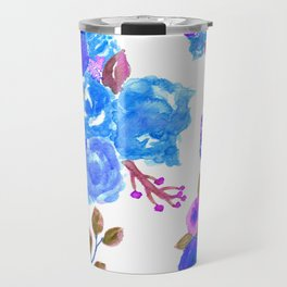 Watercolor Bouquet Floral in White + Blue Travel Mug