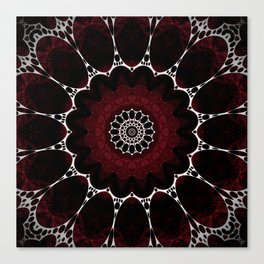 Deep Ruby Red Mandala Design Canvas Print