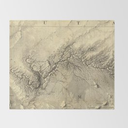 Vintage Map of The Colorado River (1858) Throw Blanket