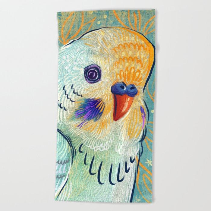 Minty Parakeet Beach Towel