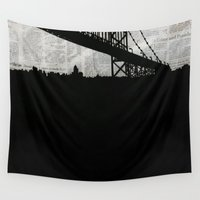 newspaper Wall Tapestries featuring Paper City, Newspaper Bridge Collage, night silhouette cityscape news paper cutout, black and white by Irene's Goodies