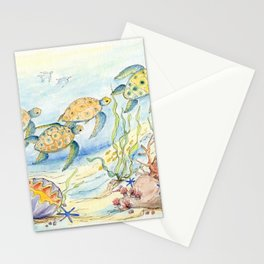 Sea Turtles, Coral and Kelp Stationery Cards