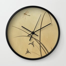 Orchid and Dragonfly Wall Clock