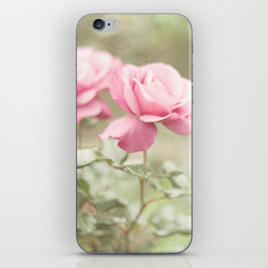 Textured and Pastel roses (vintage flower photography) iPhone & iPod Skin