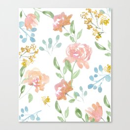 Mustard Floral Pattern Canvas Print