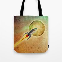 spaceship Tote Bags featuring SPACESHIP by Oscar Civit