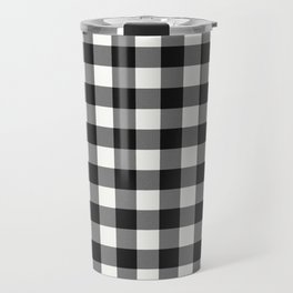 Black and White Country Buffalo check with digital canvas texture Travel Mug