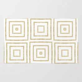 Gold Glitter Art Deco Squares Rug