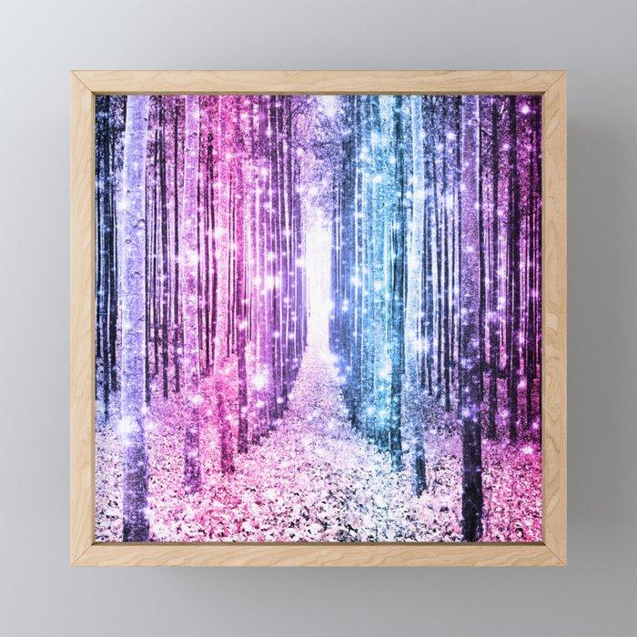 Magical Forest : Pastel Pink Lavender Aqua Periwinkle Ombre Framed Mini Art Print