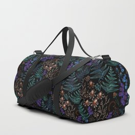 Moody Florals with Fern Leaves Black Duffle Bag