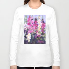 Pink Hollyhocks in My Garden Long Sleeve T-shirt