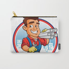 plumber worker with key in the hand Carry-All Pouch